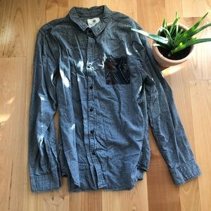 Men's thick long sleeve button up